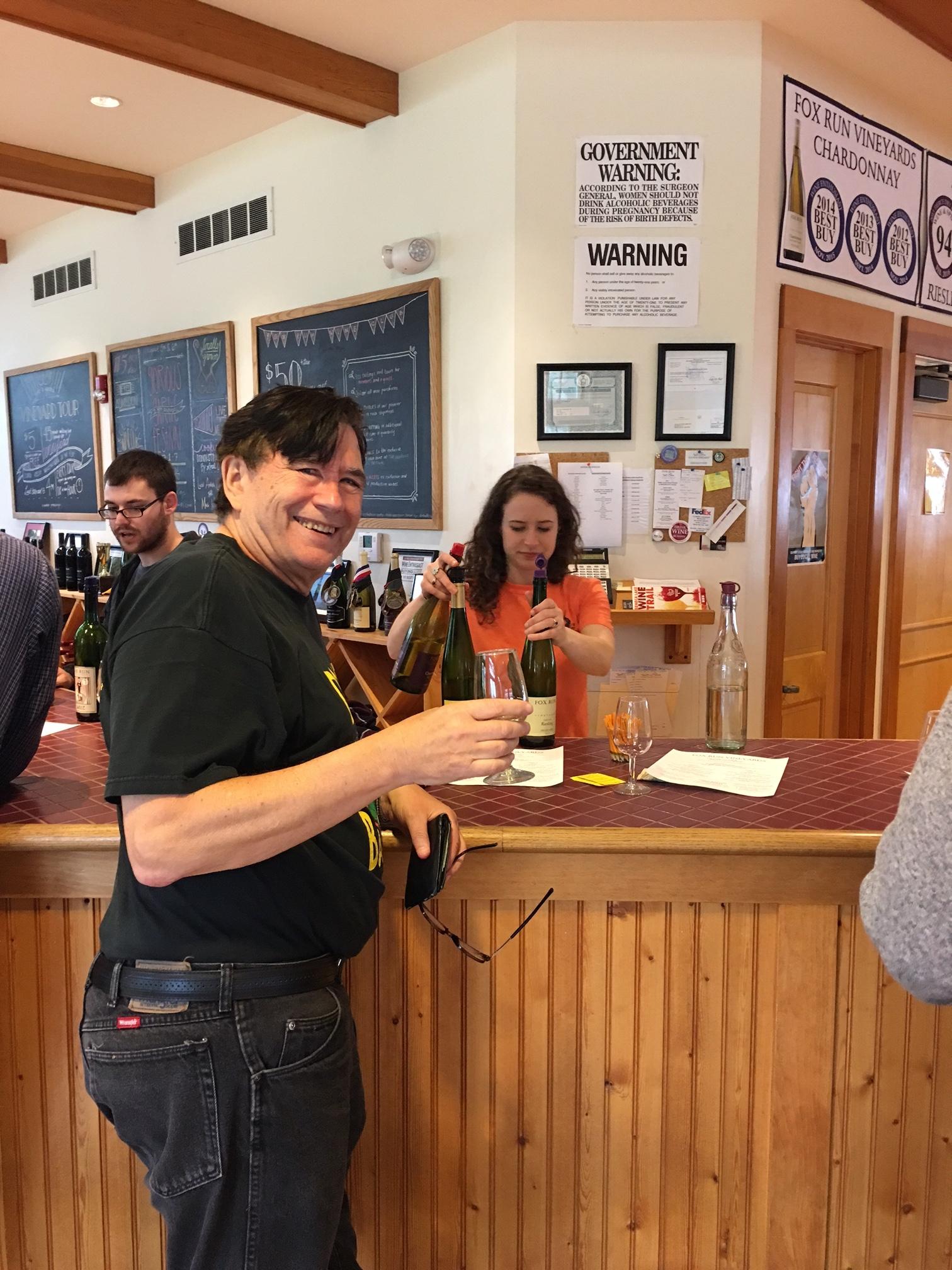 John tasting wine, Seneca Lake, 4-15-17