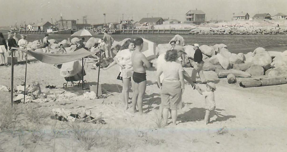 Detta & Walt, Al in background, Galilee/Pt Judith, 1940s?
