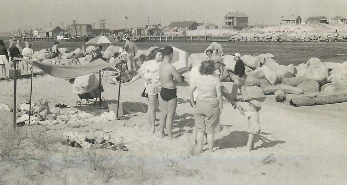 Detta & Walt, Al in background, Galilee/Pt Judith, 1940s?