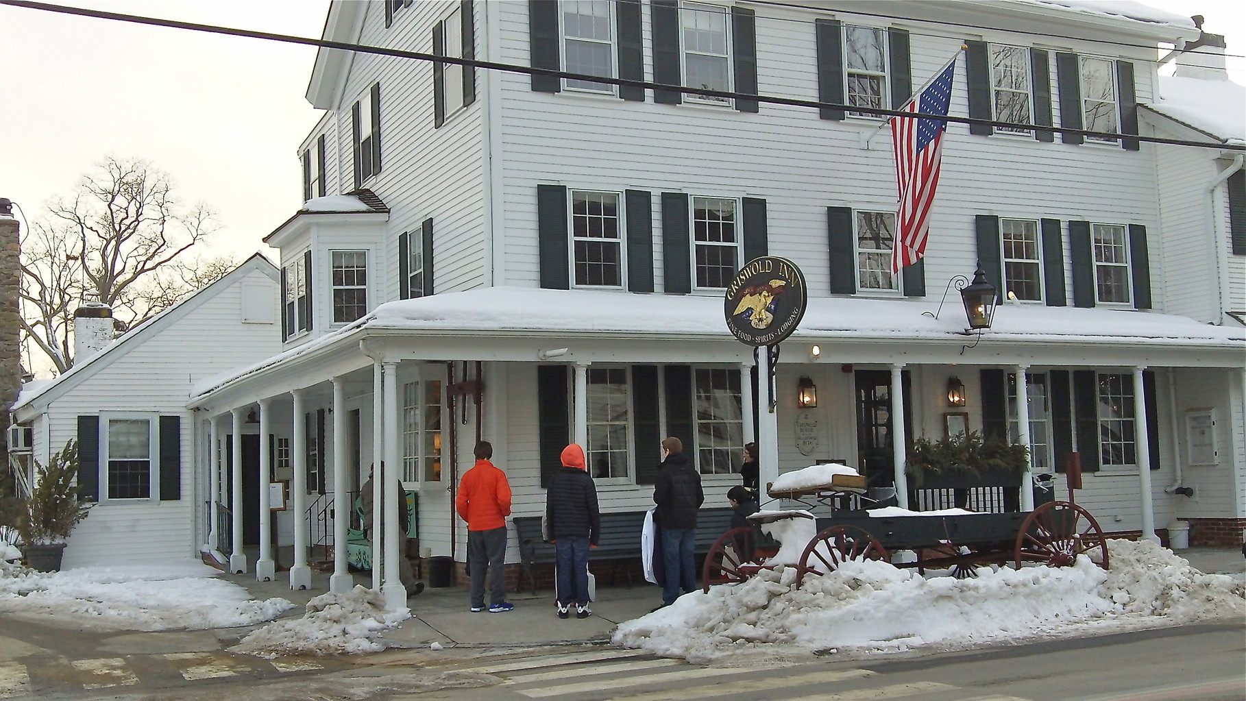 The Griswold Inn, in continuous operation as an inn since 1776, where the party was held.