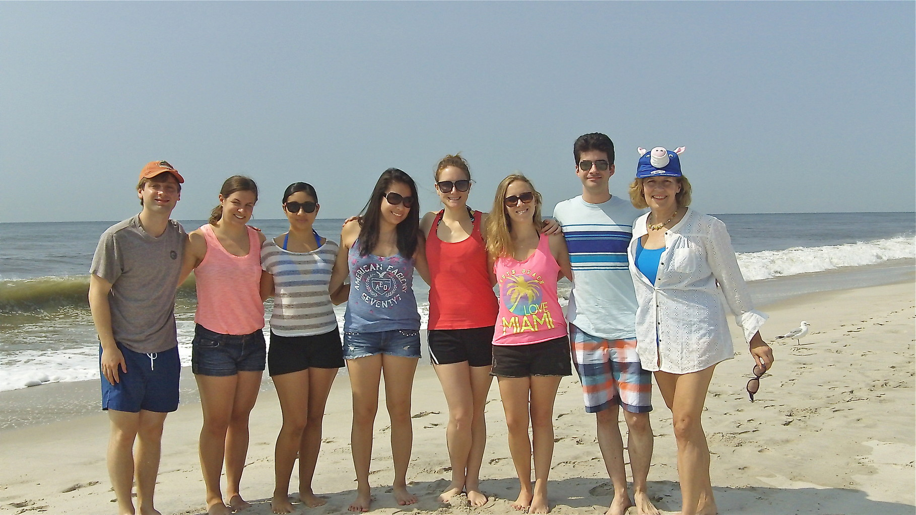 Gudas Summer Lab Trip-Jones Beach, July, 2014...oh, no, the pig hat comes out again!
