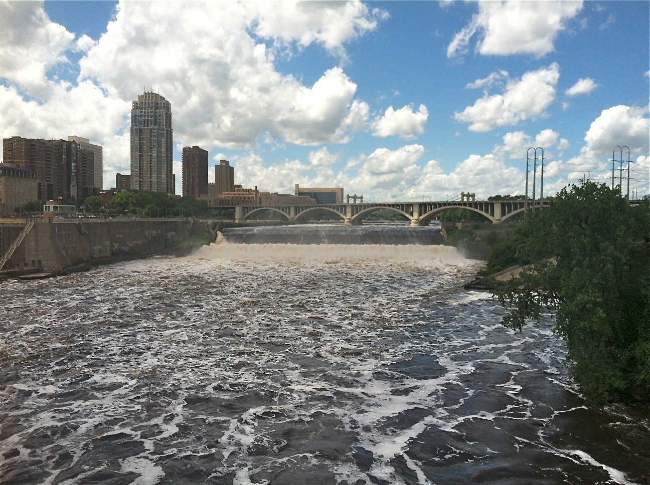 St. Anthony's Falls, the only falls on the Mississippi River.