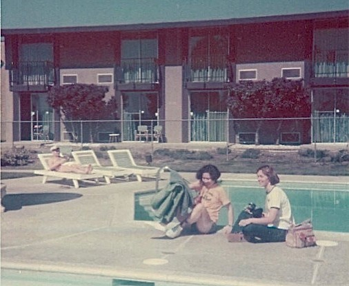 Pauline Susanto (dental student) & Lorraine at the team hotel in Riverside, 1979