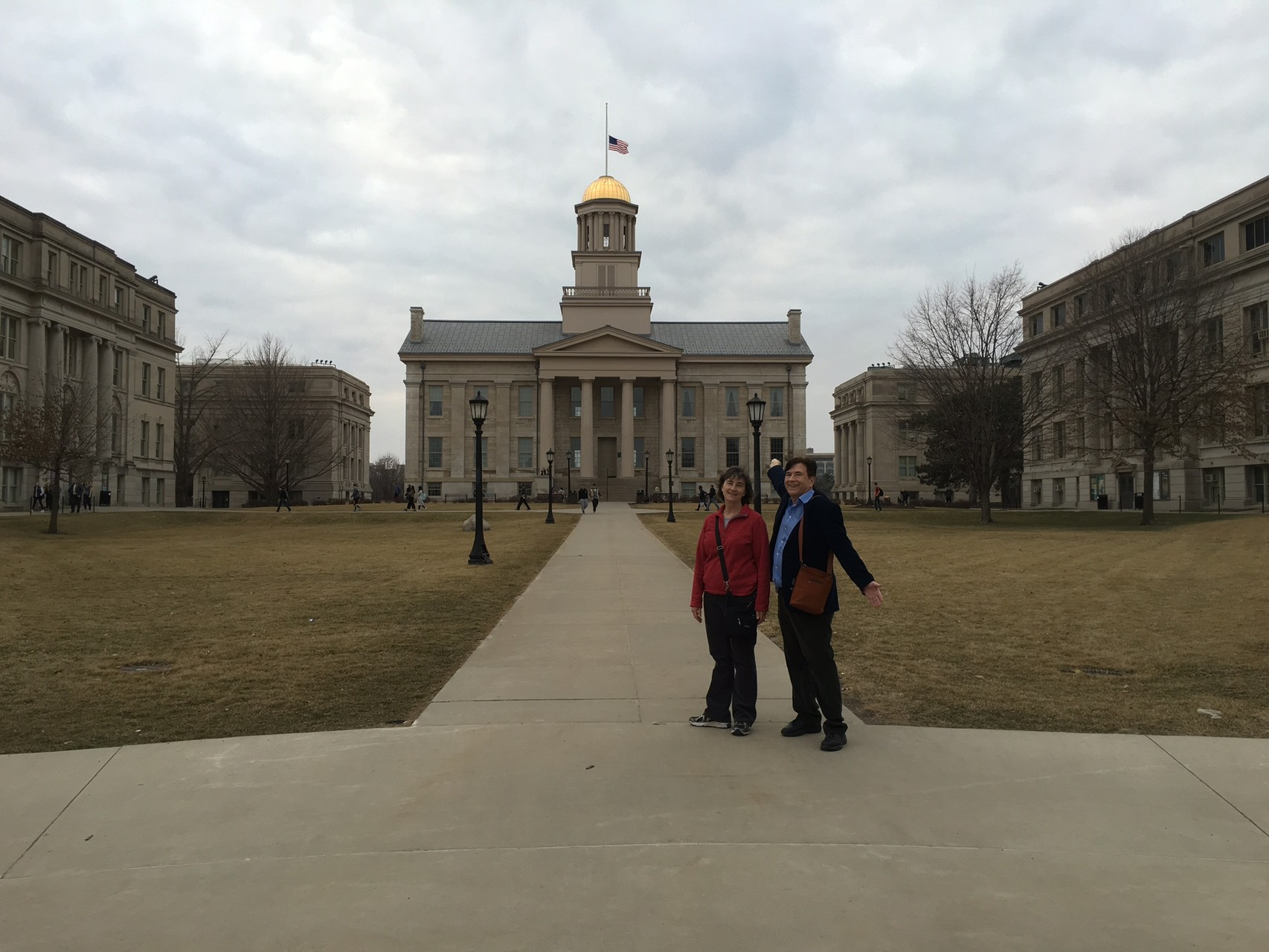 Ann & John at the old capital in Iowa City