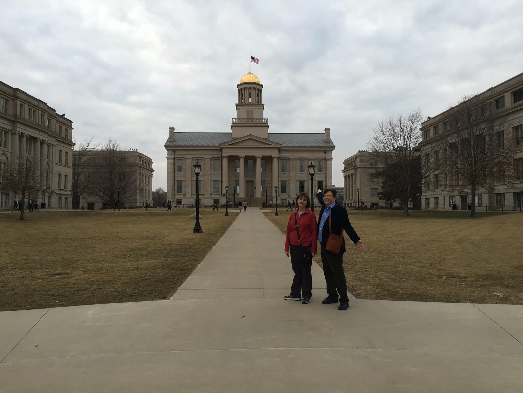 Ann & John at the old capital in Iowa City