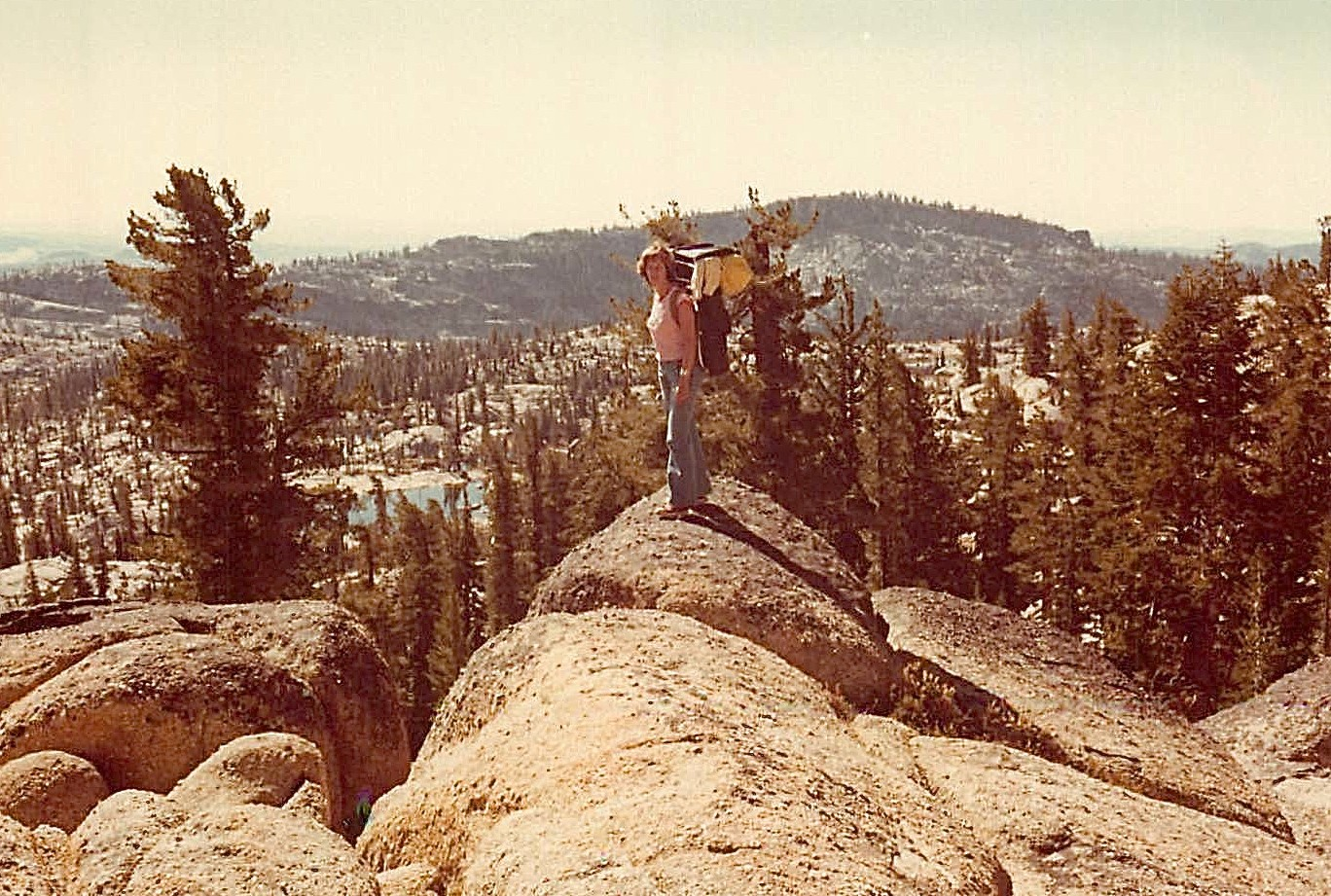 Lorraine Gudas backpacking near Emigrant Lake, 1976