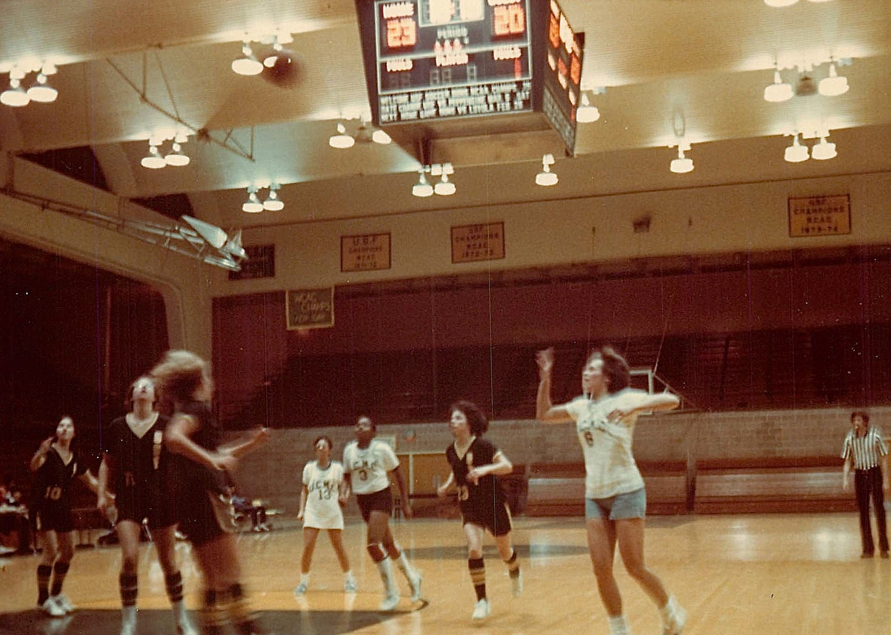 Lorraine takes a shot, UCSF Women's Team plays the Univ. of San Francisco  1977