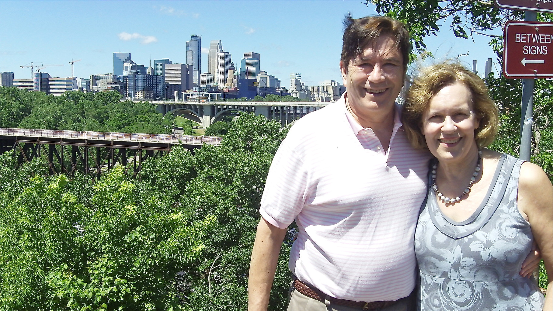 John & Lorraine above the Mississippi River.