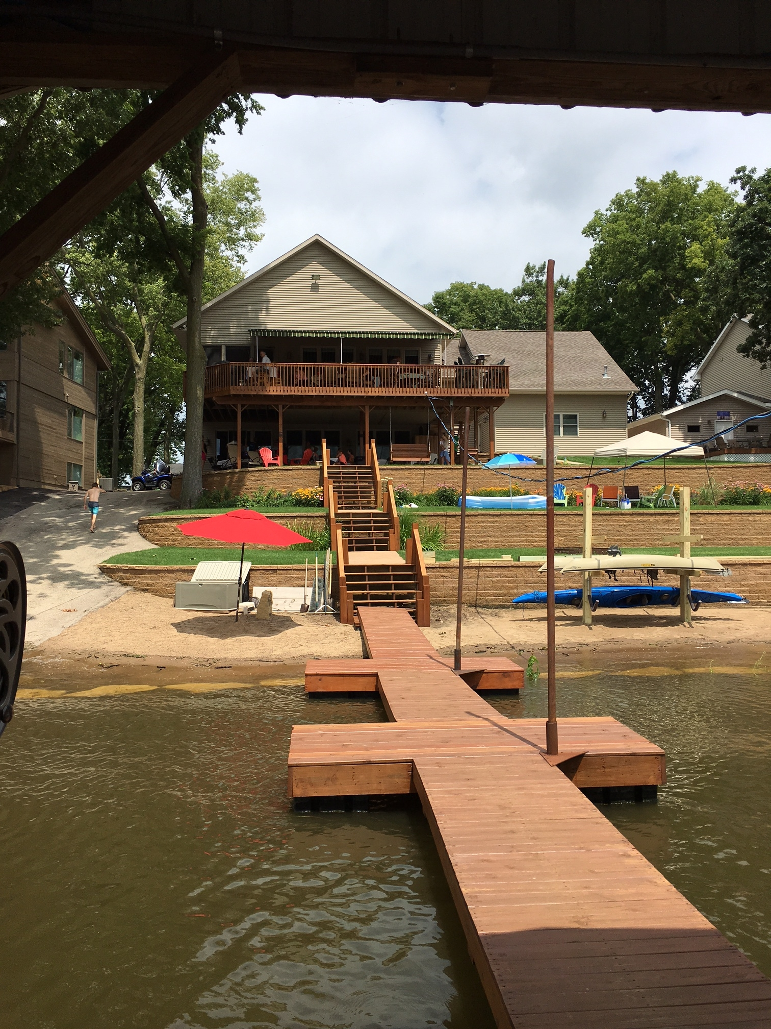 A view of Ted and Carol's house from the dock.