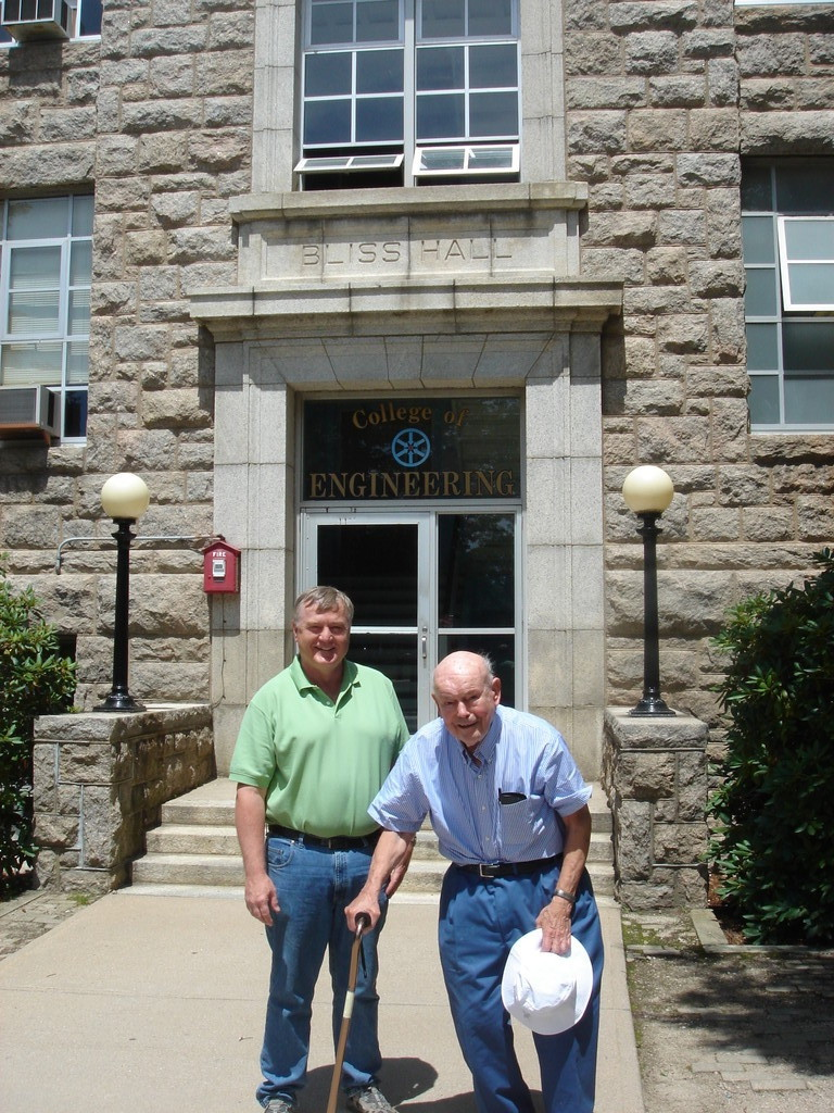 Al Gudas & Dean of Engineering School, Univ. of RI, outside of Al's old classroom, electrical engineering major!