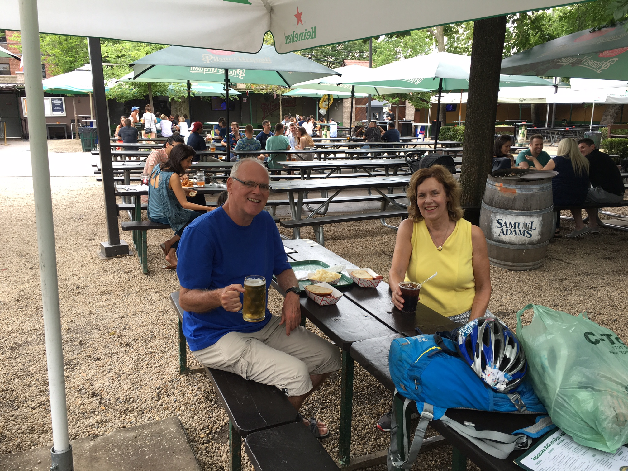 Bernd & Lorraine having lunch at the Bohemian Hall beer garden, Queens, NYC  8-5-17