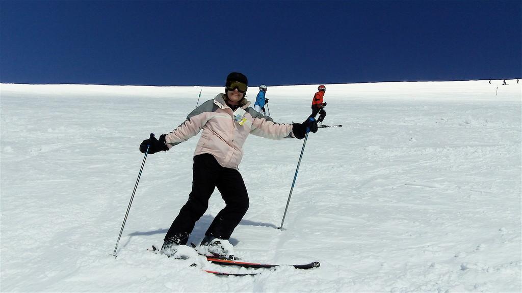 Lorraine skis down Lone Peak