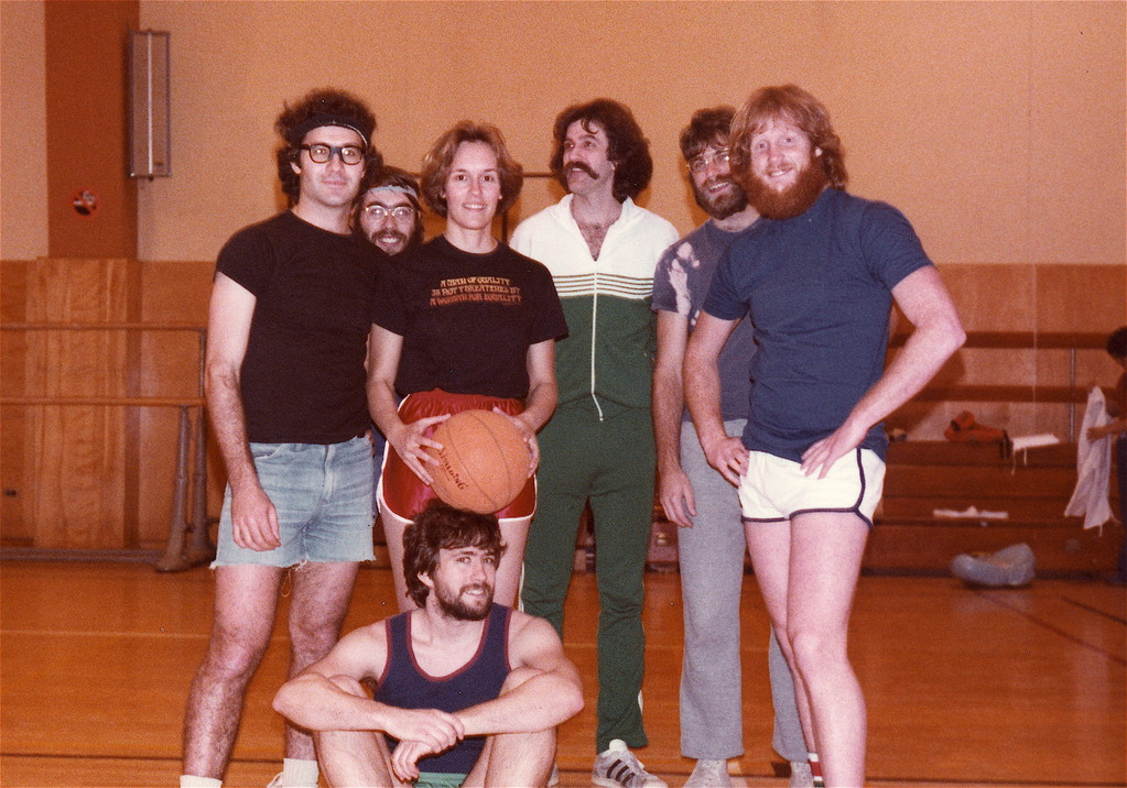 UCSF Intramural Basketball Postdoc Team, the Savage Shadows, about 1980-81 Bruce Fireman, Greg Payne, Lorraine, Gudas, George Miljanich, John Majors, Buddy Ullman; John Wagner sitting