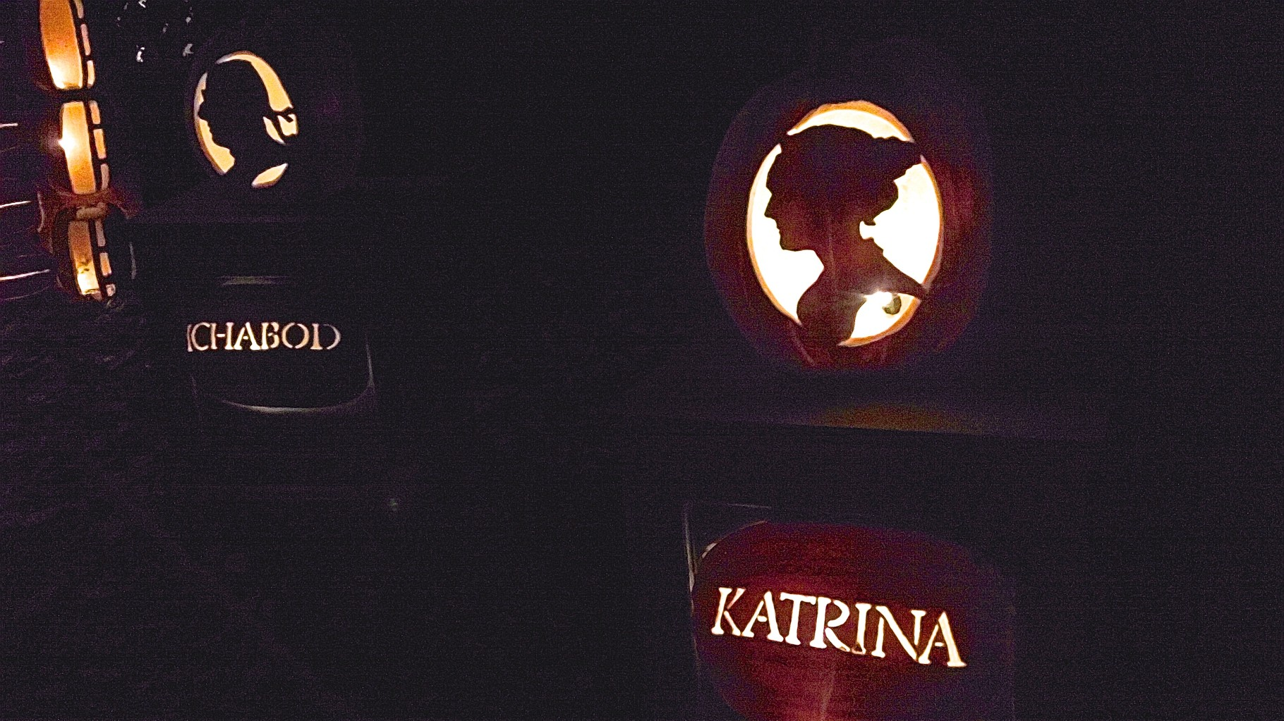 Ichabod and Katrina live on, carved in pumpkins