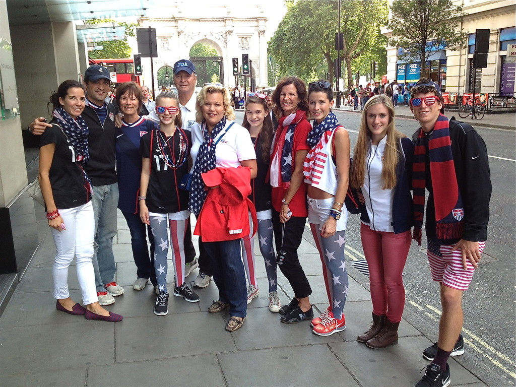the Heath family in London with Celeste, Kate, & Ellie for the Gold Medal Women's Soccer Olympic Game in London 8-9-2012..Tobin Heath is a starter on the team!
