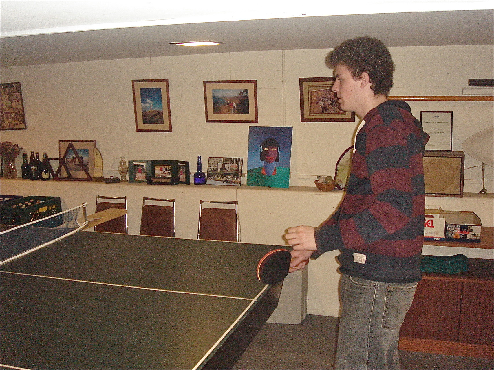 Ben Ackerman, Greg's cousin, at the ping pong table