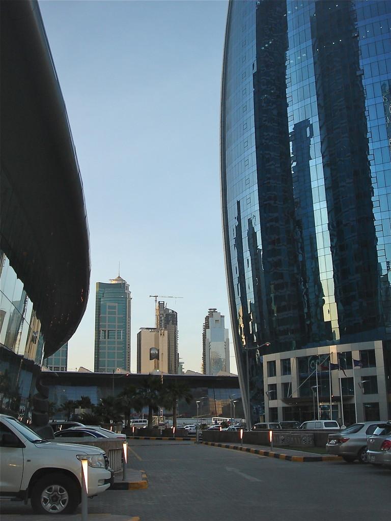 Qatar Gas Tower (looks like a gas flame) & BMW dealership
