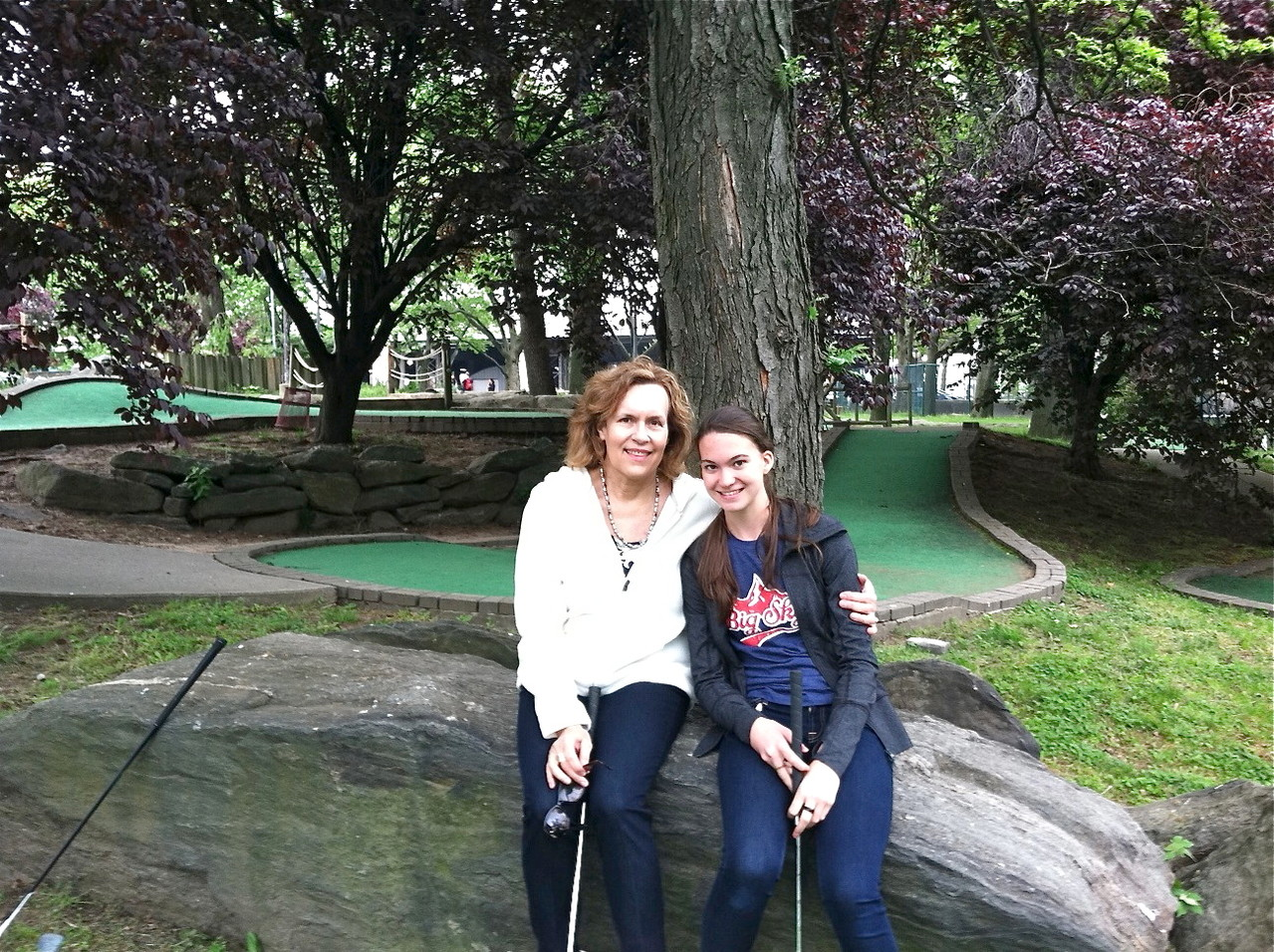 Lorraine & Ellie playing mini-golf, May 18, 2013..