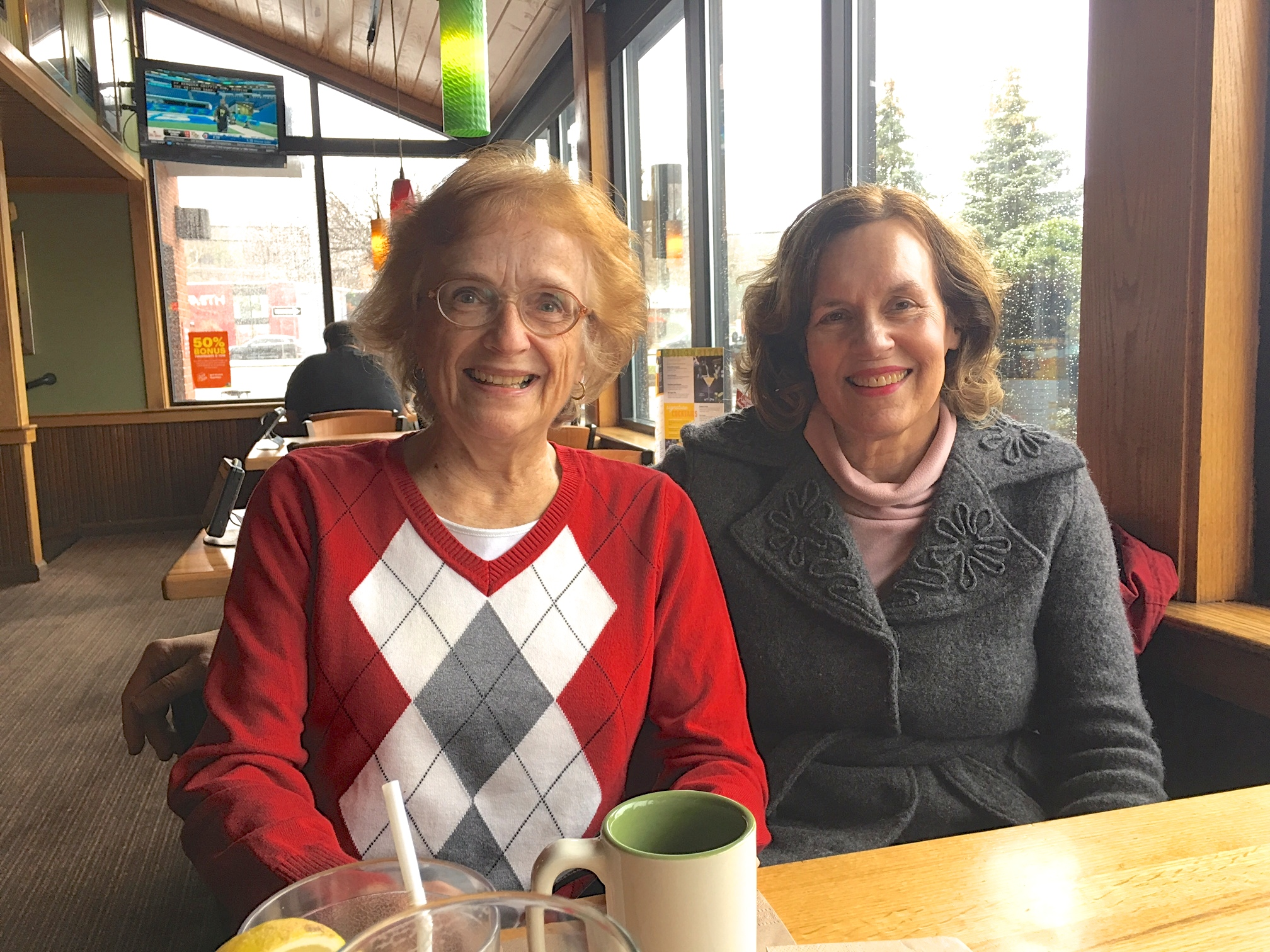 Jeanne Bednarski Sheridan & Lorraine Gudas, 4-2-18, at lunch in Syracuse, NY