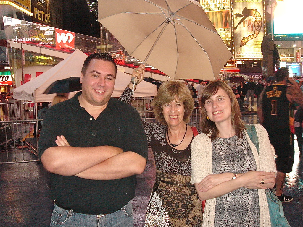 Gregory, Nancy, Anna at Times Square, 9-8-2012