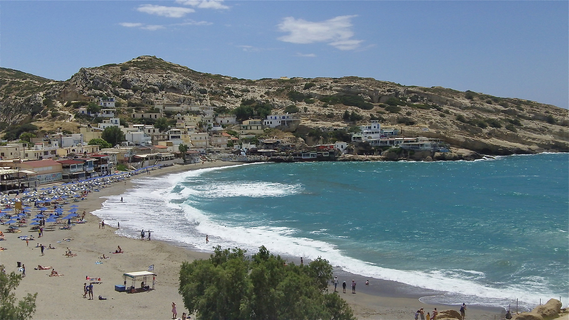 the beach at Matala, Crete, southern coast