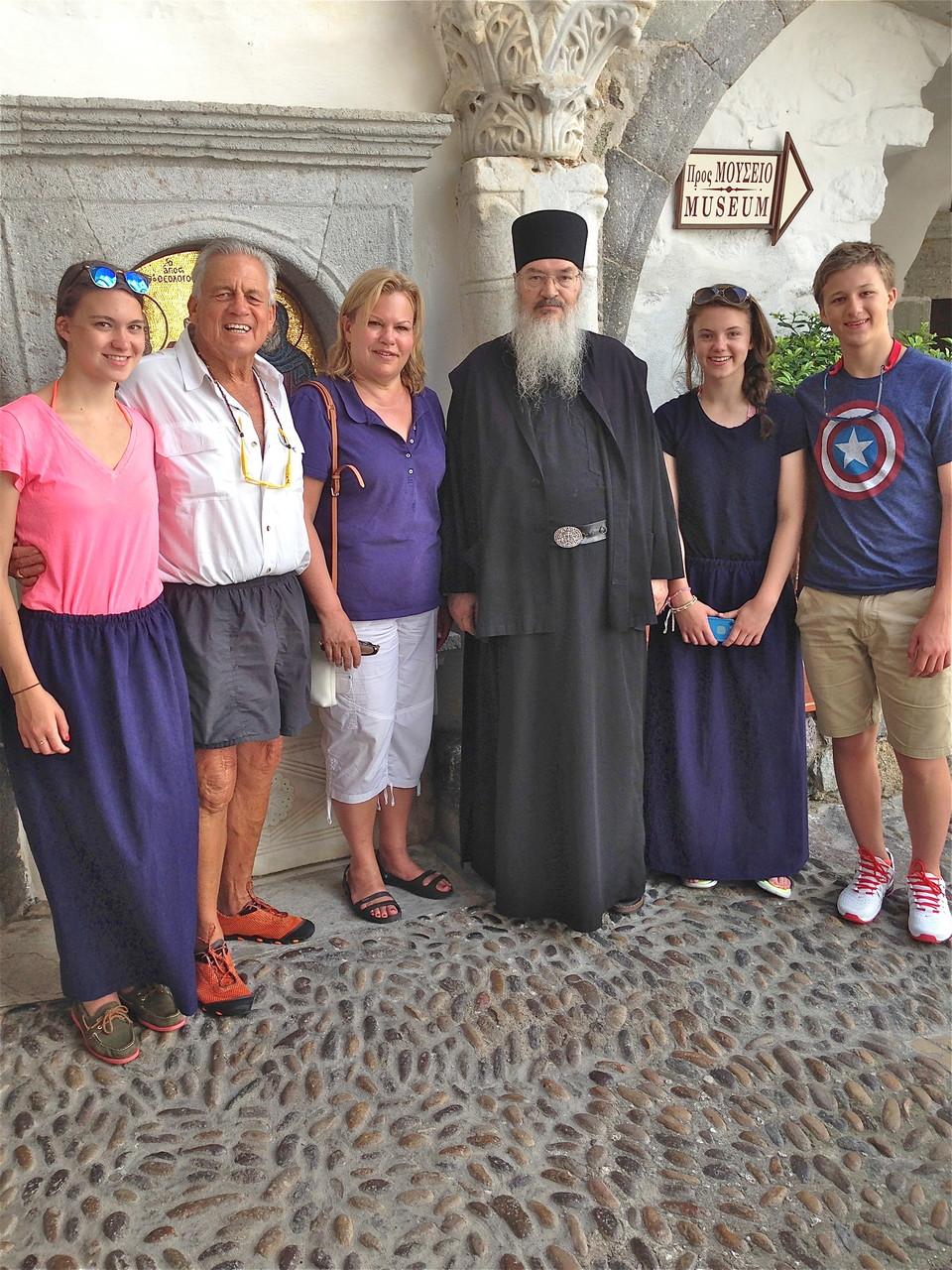 Ellie, Stuart Sr, Celeste, priest, Kate, Jack   Patmos Monastery