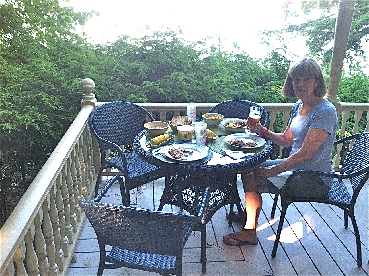 Nancy on the porch having dinner...
