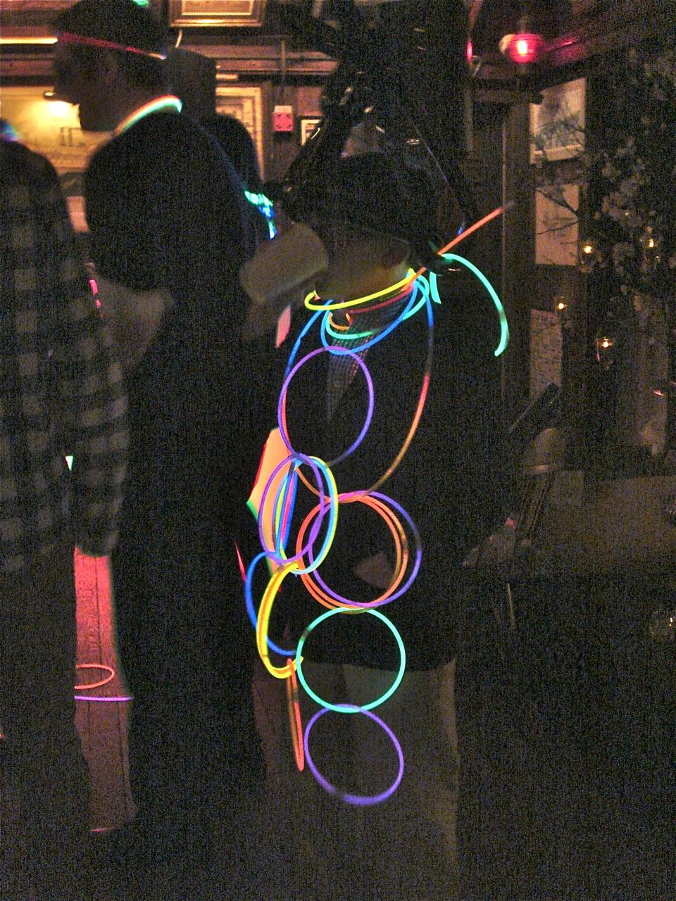 Stuart Kagel III isn't dancing, but he loves the glow sticks!