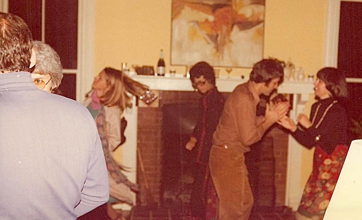 Shirley Clift, Barbara Levinson, & Dave & Kathy Martin dance at Nick Kredich' going away party 1977
