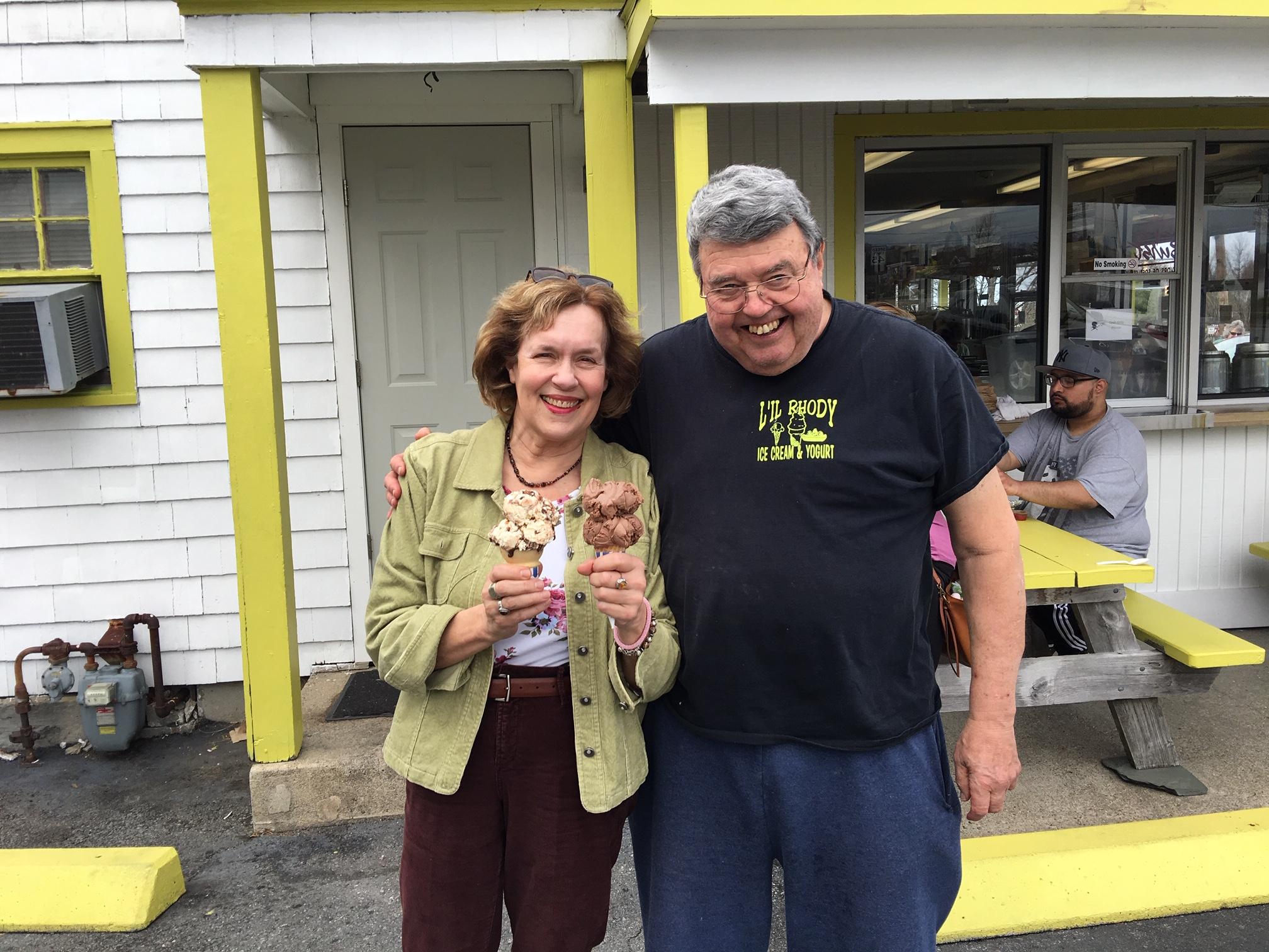 Lorraine & cousin Bill at his ice cream shop, April, 2019 RI