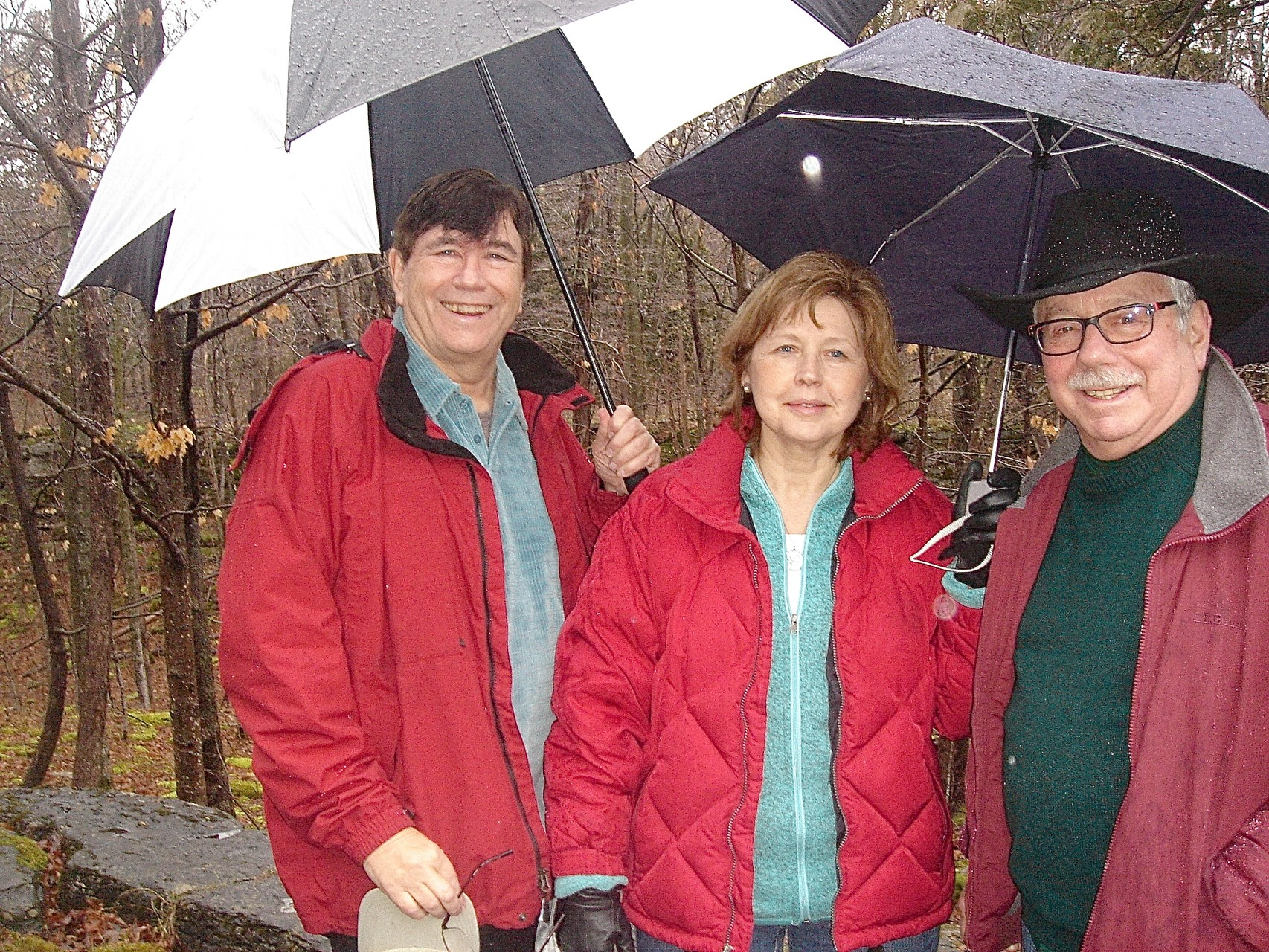 John, Barbara & Don hiking at Clark Reservation, 12-27-15