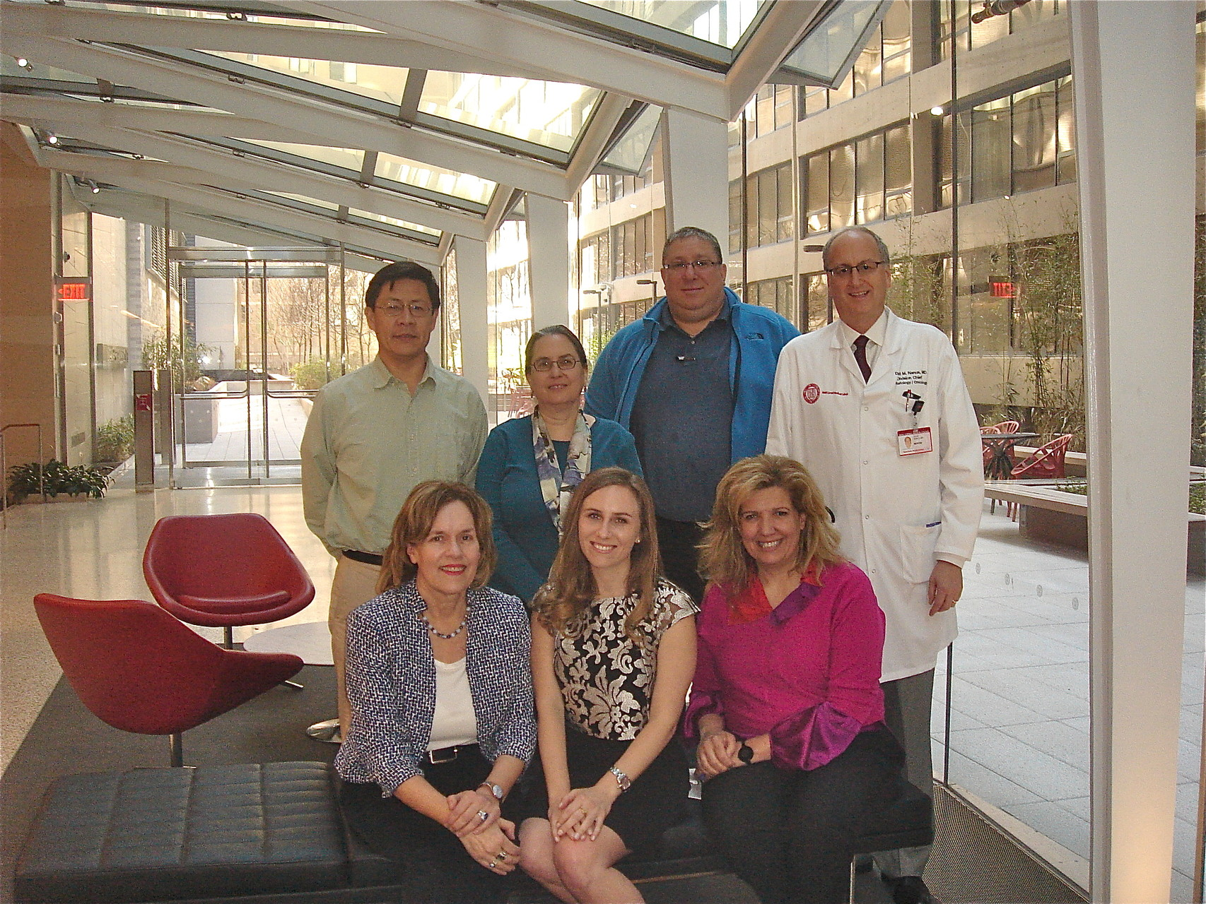 Denise Minton defends her thesis research, May, 2015,  Lorraine Gudas, Denise Minton, Evi Giannakakou (front); Yueming Li, Terry Milner, Lonny Levin, David Nanus (back)