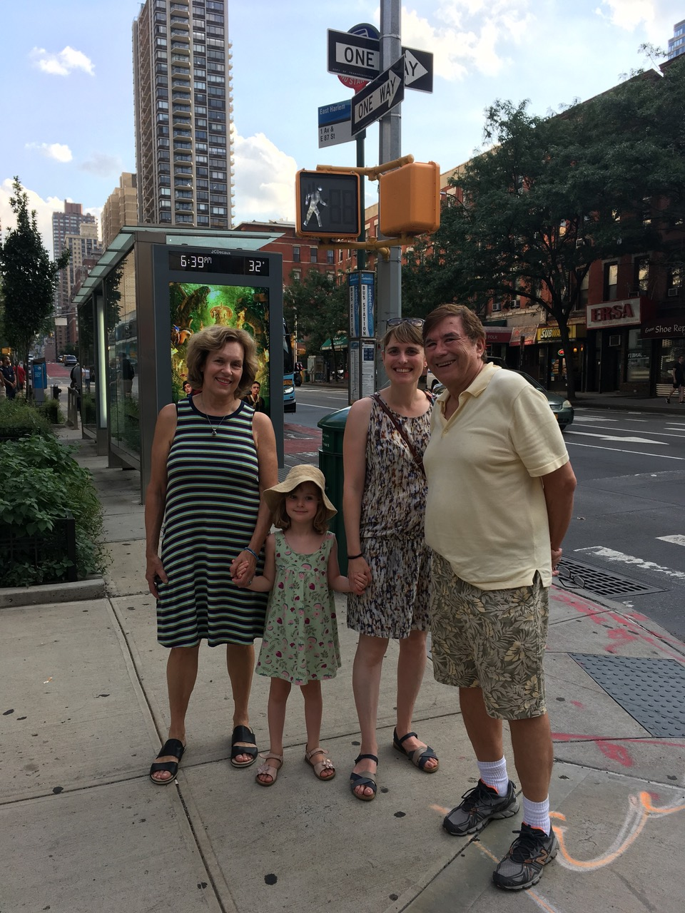 Lorraine, Celine, Anna, & John  NYC 100 degrees, July, 2019