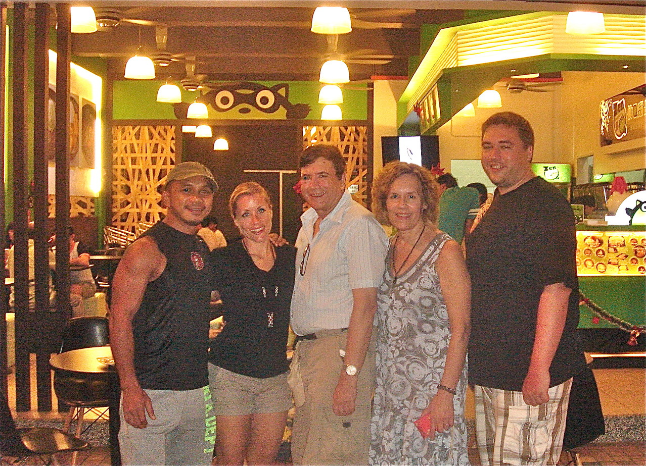 AJ Mansor, Emily, John, Lorraine, & Greg, our last night in Borneo
