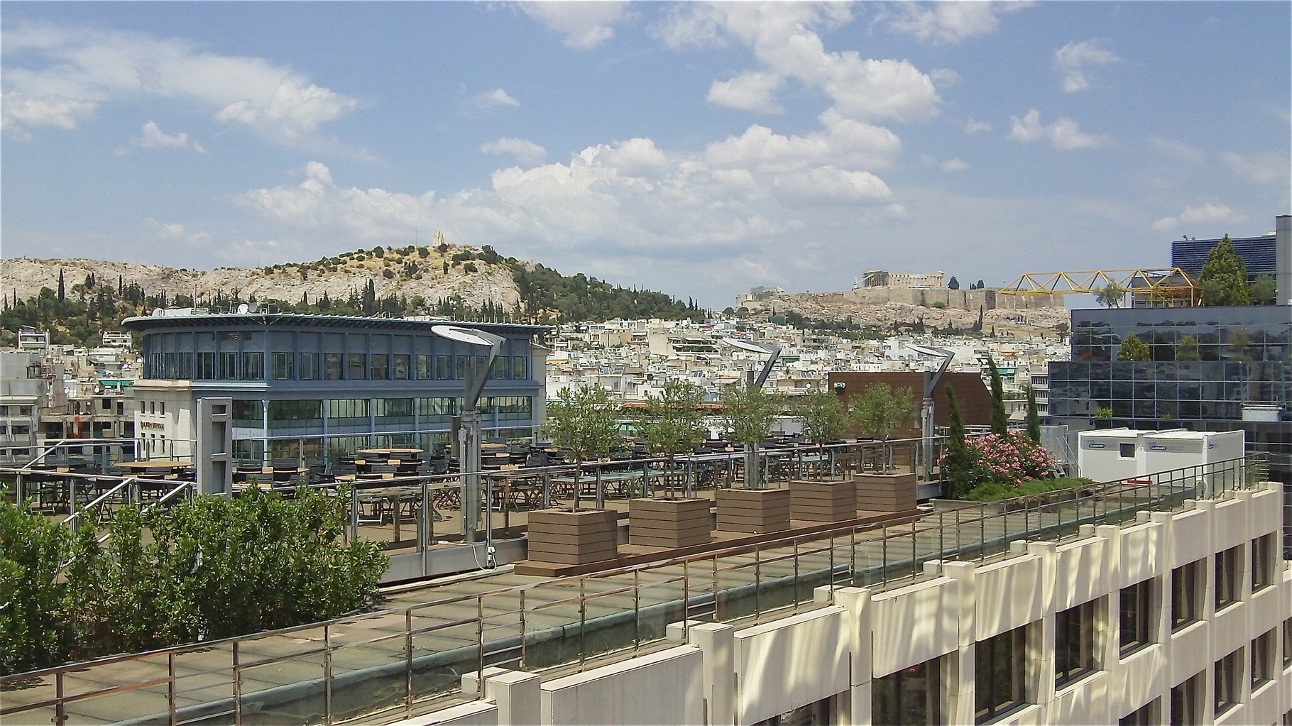 view of the Acropolis from our hotel room, Intercontinental Atheneum Athens!