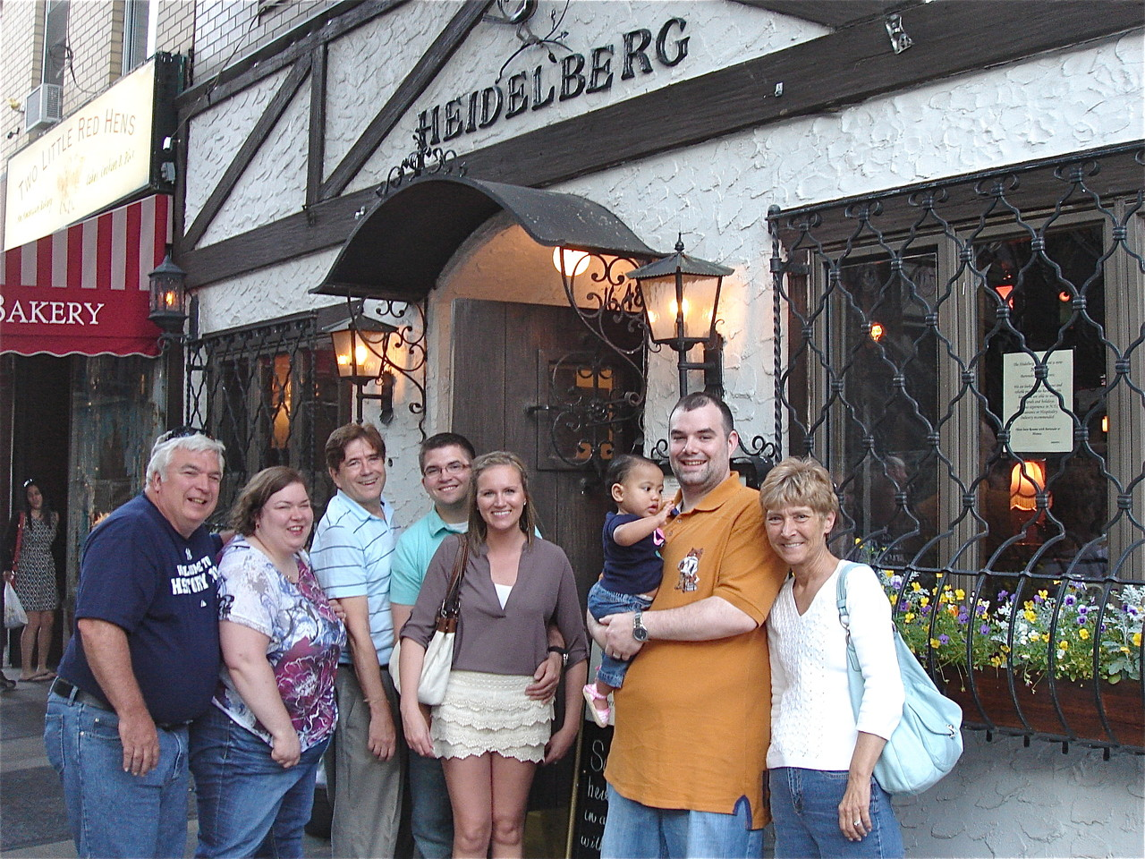 Steve Theisen, Jessica, John Wagner, Jonathan, Katie, Josie, Nick, & Sue outside the Heidelberg Rest. NYC 6-20-2013