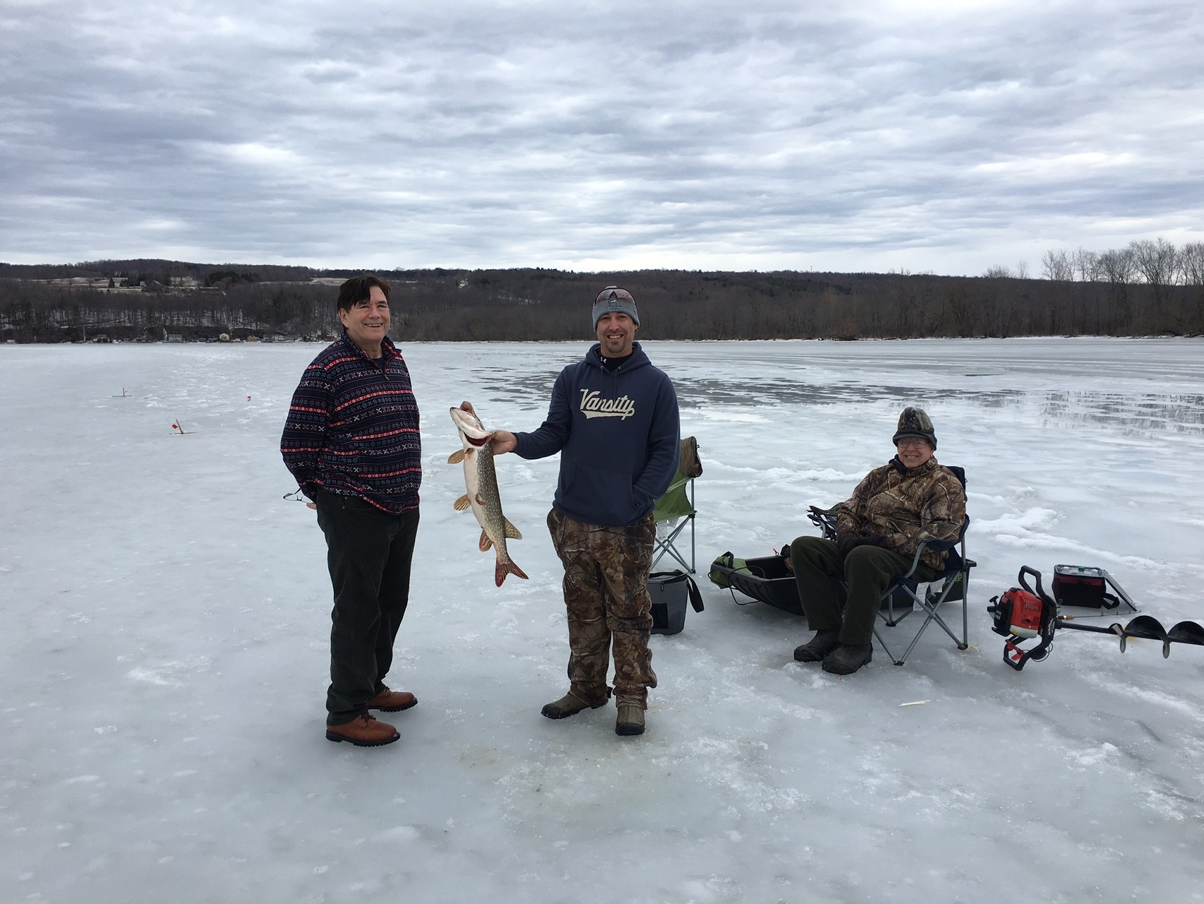 John & ice fishermen on Owasco Lake, Feb. 20, 2016