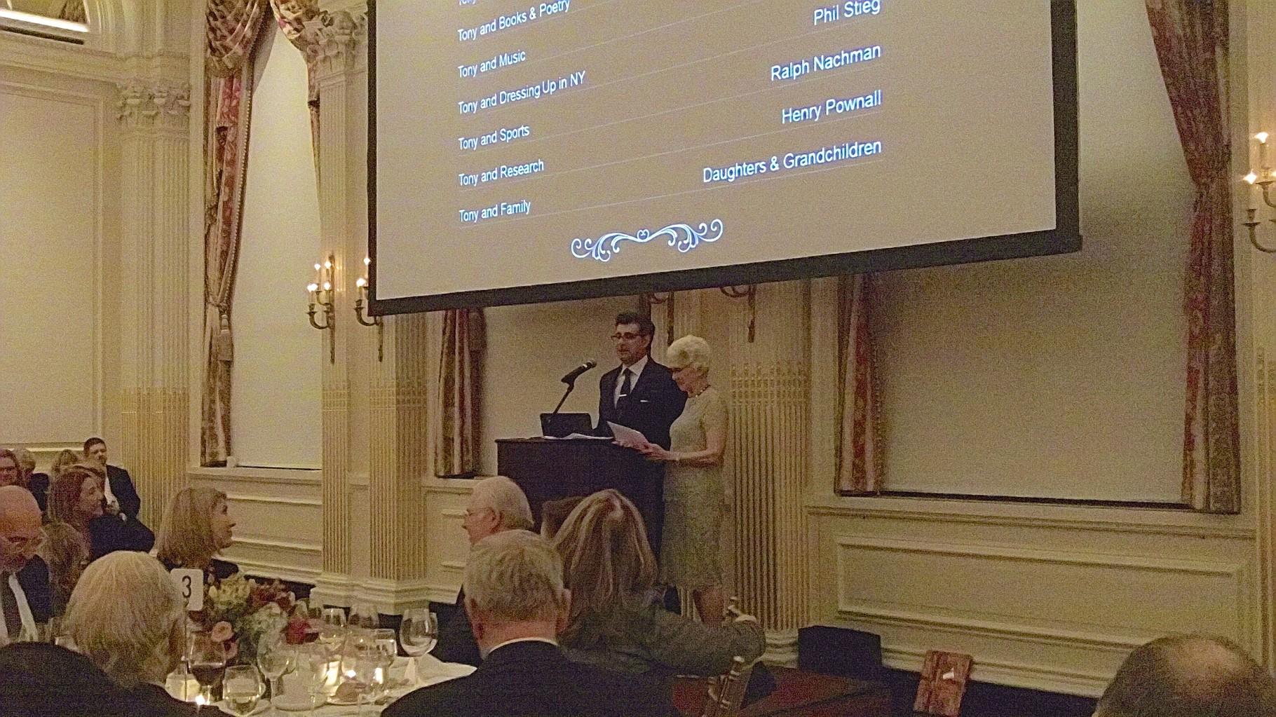 Dr. David Hajjar & Brabara Friedman speak at Dean Gotto's Bday Party