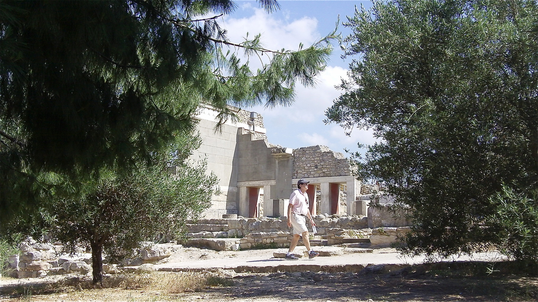 John at the Minoan ruins near Heraklion, Knossos Palace