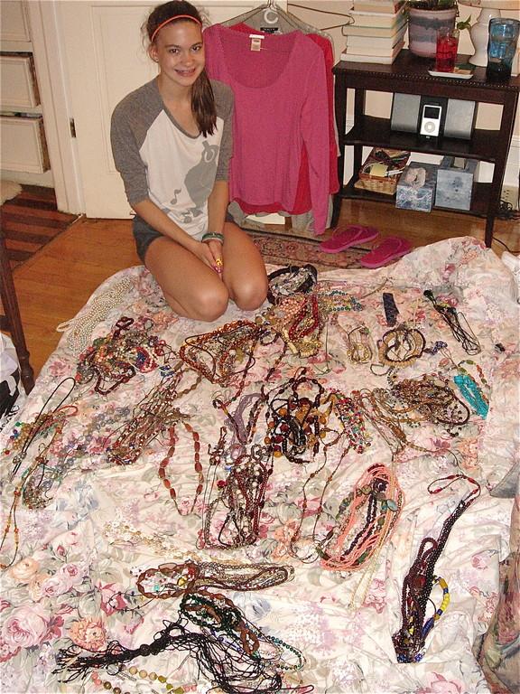 Ellie organizing my jewelry