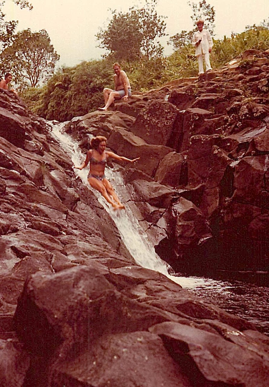 Lorraine on Wailua Slide, natural rock slide, Kauai