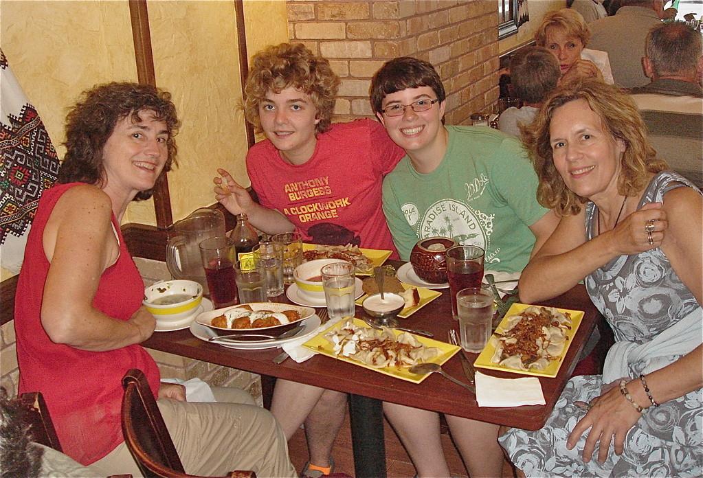 Ann, Kathleen, Emilea, Lorraine w/ vareniki & pelmeni-delicious!!