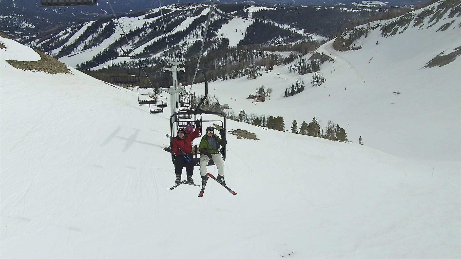 John and Stuart Jr. on the ski lift at Big Sky, Montana