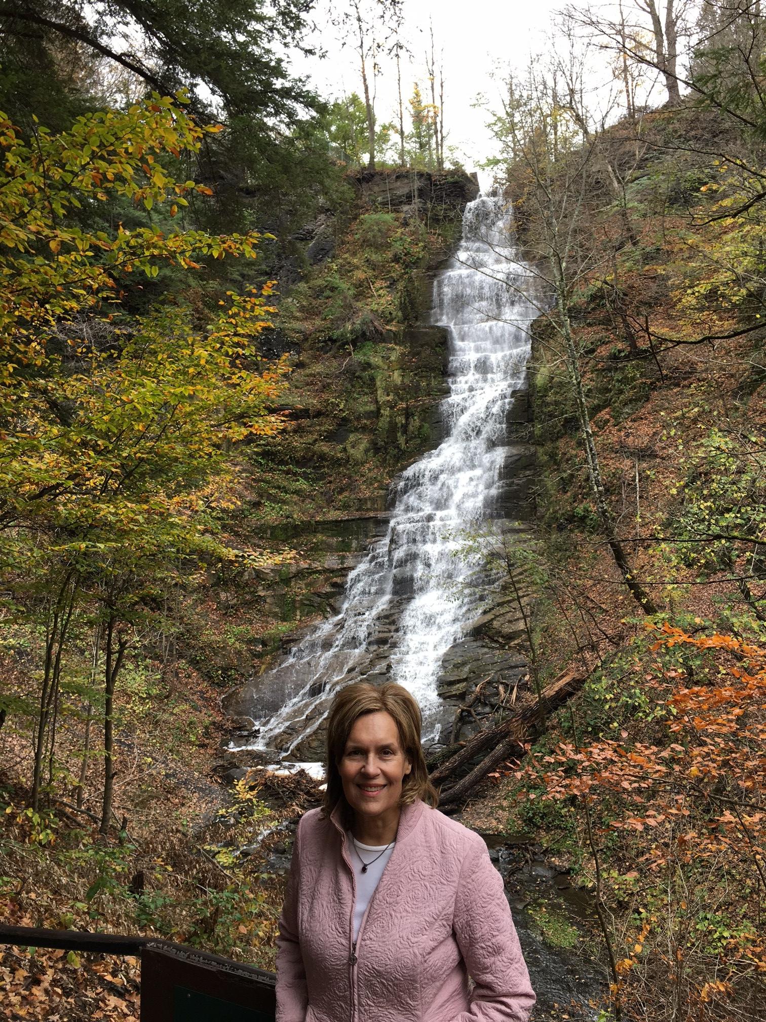Lorraine Gudas at Pratt's Falls, near Jamesville, NY