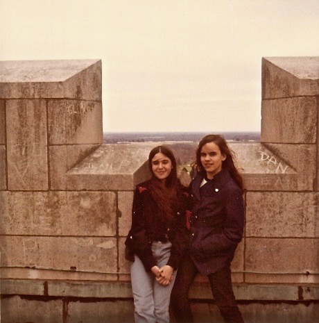Tori & Celeste at Princeton Graduate College Tower, 1971