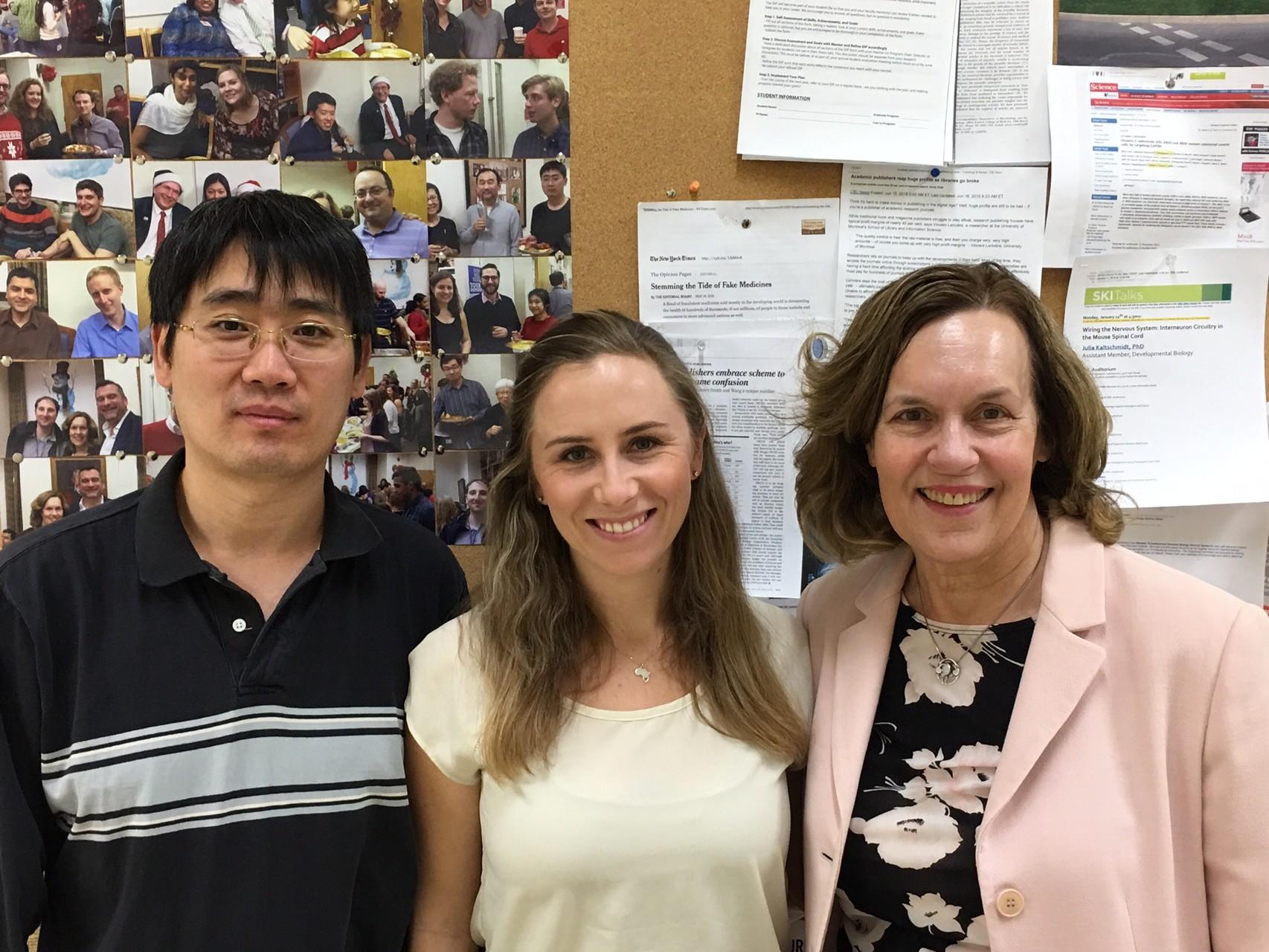 Drs. Leiping Fu, Denise Minton, & Lorraine Gudas Feb. 2016 celebrating the Clin. Cancer Res. NDUFA4L2 publication!