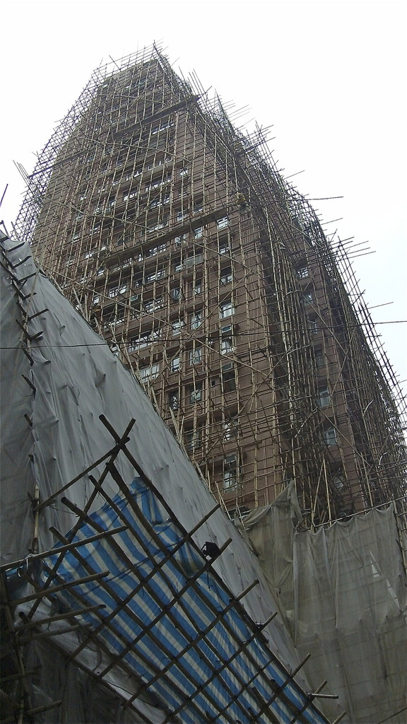 Bamboo scaffolding on a large skyscraper