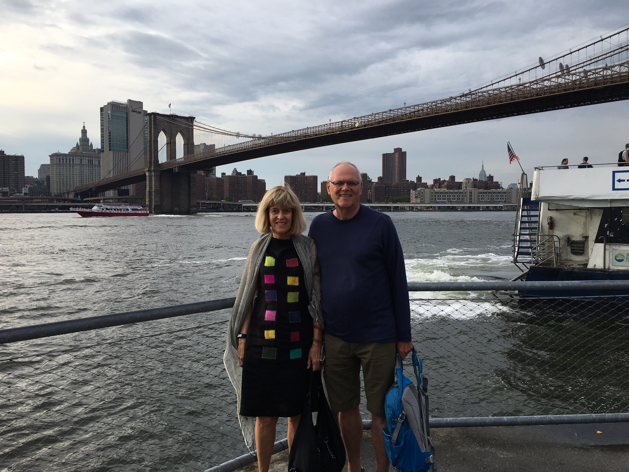 Nancy & Bernd in front of the Brooklyn Bridge