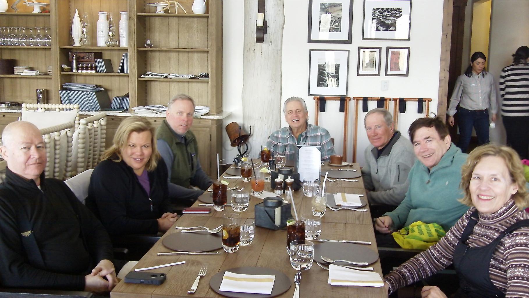 Jack Donohue, Celeste, Stuart Jr., Stuart Sr., Dick Fast, John Wagner, & Lorraine Gudas at lunch Spanish Peaks clubhouse