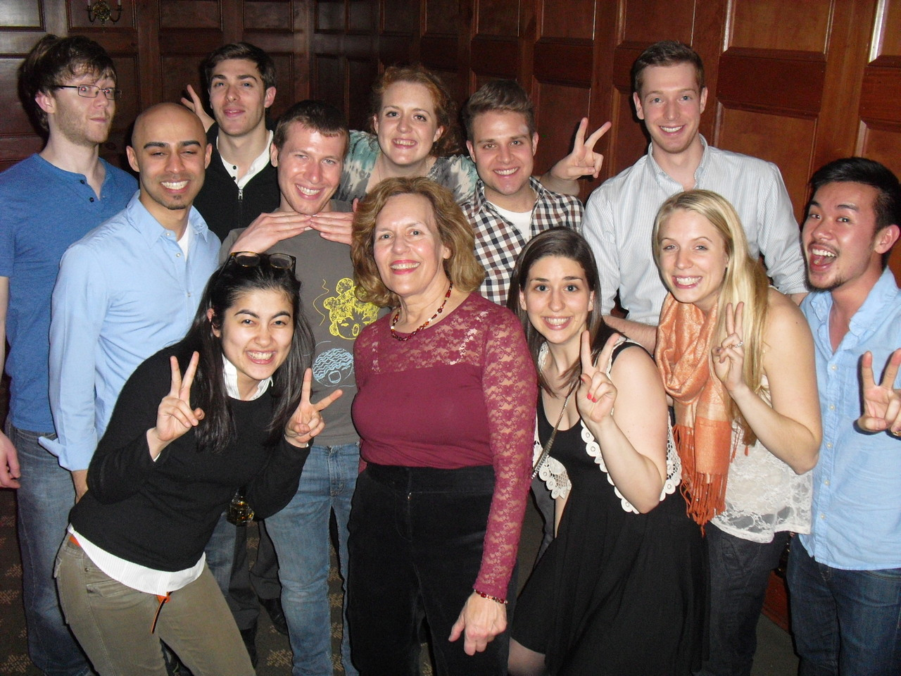 Lorraine Gudas with Second Year Graduate Students in Pharmacology, 4-2013, at the Retreat Party